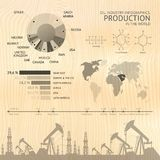 Process of oil production. Process of oil production, infographic design elements. Vector illustration stock illustration