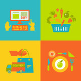 Process online purchase eco food from farm  icon Royalty Free Stock Photos
