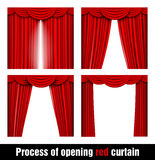 Process of opening red curtain Stock Images