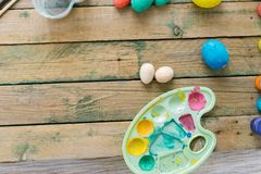The process of painting Easter eggs. Preparing for Easter stock photography
