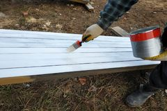 The process of painting pine wood panels with a brush and white paint royalty free stock photos
