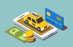 Process paying taxi. Via mobile application by credit card and cash Royalty Free Stock Image