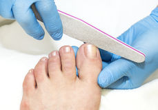 Process of pedicure Stock Photos