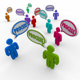Process People Speech Bubbles Employees Workers Follow Procedure Royalty Free Stock Photos