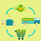 Process of pineapple juice Royalty Free Stock Image