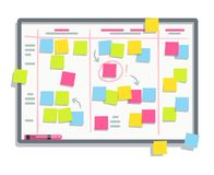 Process planning board with color sticky notes. Scrum task whiteboard flat vector illustration. Board with colored note sticker reminder Stock Image