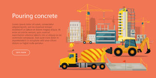 Process of Pouring Concrete Web Banner. Vector Royalty Free Stock Photography