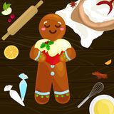 Process of preparing Christmas treats and sweets on a wooden kitchen table. Gingerbread man and ingredients for cooking. Flour, spices vector illustration royalty free illustration