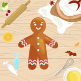 Process of preparing Christmas treats and sweets on a wooden kitchen table. Gingerbread man and ingredients for cooking. Flour, yatsa, spices vector stock illustration