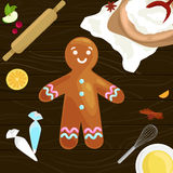 Process of preparing Christmas treats and sweets on a wooden kitchen table. Gingerbread man and ingredients for cooking. Flour, yatsa, spices vector royalty free illustration