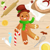 Process of preparing Christmas treats and sweets on a wooden kitchen table. Gingerbread man and ingredients for cooking. Flour, yatsa, spices vector vector illustration