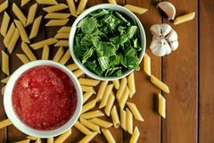 A process of preparing penne Stock Photography