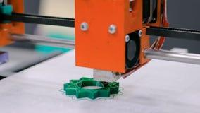 Process of printing plastic model on automatic 3d printer machine stock video