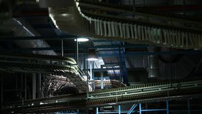 Conveyor belt for the production of newspapers stock video footage