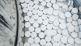 Process of production of pills, tablets. Industrial pharmaceutical concept. Factory equipment and machine. Steel stock video footage