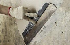 Process putty concrete wall Stock Photo