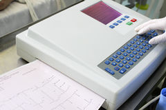 Process of recording ECG by medical personnel Royalty Free Stock Photos