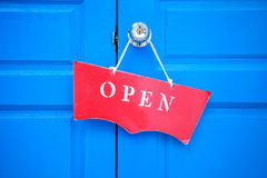 A process red open door sign Royalty Free Stock Image
