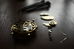 The process of repair mechanical watches stock image