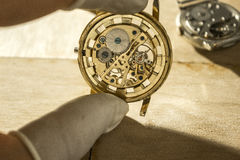 The process of repair  mechanical watches Royalty Free Stock Image