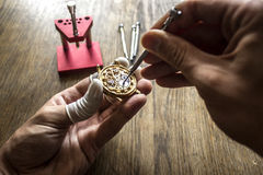 The process of repair  mechanical watches Royalty Free Stock Photography