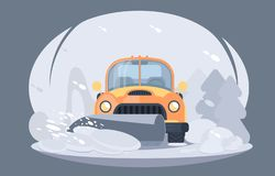 Process of snow removal from road. Pick up truck with snowplow. Winter highway service. vector illustration