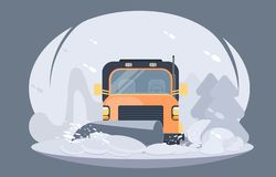 Process of snow removal from road by a snowplow. Winter highway service. Process of snowplowing road. Winter highway service. Flat vector illustration stock illustration