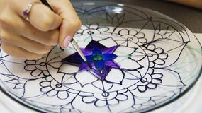 The process of stained glass painting Royalty Free Stock Image