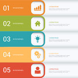 Process steps labels vector infographics mockup template. Simple multicolor 5 step process steps labels infographics mockup template. Infographic background Stock Images