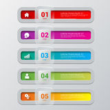 Process steps labels vector infographics mockup template. Simple multicolor 5 step process steps labels infographics mockup template. Infographic background Royalty Free Stock Images