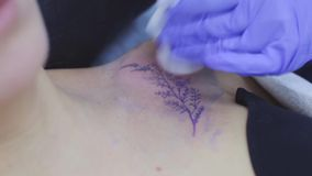 The process of tattoo master 14 february novosibirsk stock footage