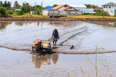 Process of Thai farmer working with a handheld motor plow in a rice field. Royalty Free Stock Images