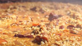 Process to cook pilaf stock video footage
