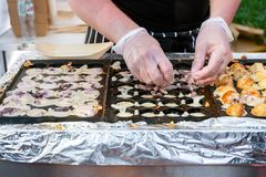 Process to Cooking Takoyaki on hot pan Famous food Osaka Japan street food Royalty Free Stock Photography
