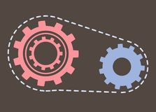 Gears Cogwheels Symbolizing Unity and Process. Process vector, rounded gear with lines isolated tool flat style. Device cogwheel, round shaped object vintage royalty free illustration