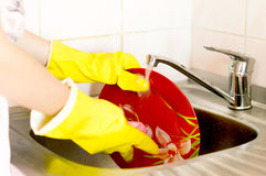 Process of washing of ware Stock Photos