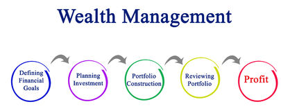 Process of Wealth Management. Diagram of Wealth Management Process Stock Photography
