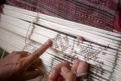 Process of weaving, dyeing, Thaisilk Stock Image