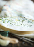 The process of working a cross-stitch embroidery. Royalty Free Stock Photos