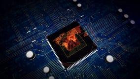 Processador central a bordo com exposição do holograma do mapa do mundo ilustração royalty free