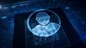 Processador central a bordo com exposi??o do holograma do s?mbolo da privacidade ilustração stock