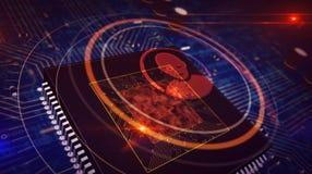 Processador central a bordo com exposi??o do holograma do s?mbolo da privacidade ilustração royalty free