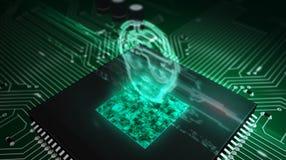Processador central a bordo com holograma da cabe?a do ai imagens de stock royalty free