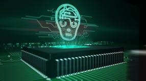 Processador central a bordo com holograma da cabe?a do ai foto de stock