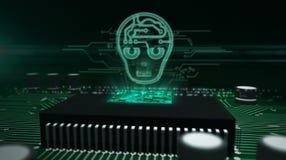 Processador central a bordo com holograma da cabe?a do ai imagem de stock