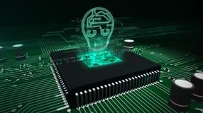 Processador central a bordo com holograma da cabe?a do ai fotos de stock