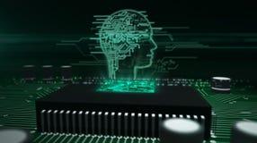 Processador central a bordo com holograma da cabe?a do ai fotos de stock royalty free