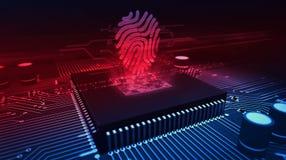 Processador central a bordo com holograma da impress?o digital ilustração stock