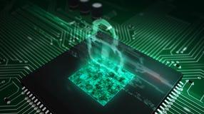 Processador central a bordo com holograma do cadeado fotos de stock