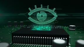 Processador central a bordo com holograma do olho do espi?o foto de stock